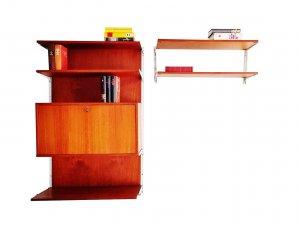 Teakholz, Regalsystem, String, Teak Rückwand, Sekretär, Mid Century, 1960er, Vintage