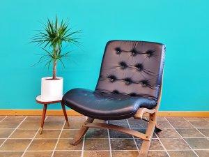 Vintage Lounge Sessel, Leder schwarz