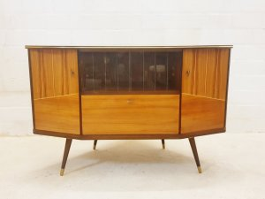 Mid Century Eckschrank, Vintage, Retro, Fernsehschrank, Designklassiker, Vintage-Möbel, 50er Jahre, Rockabilly