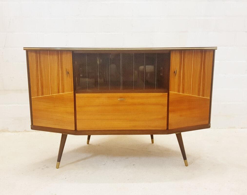 Mid Century Eckschrank, Hifi-Möbel, Minibar