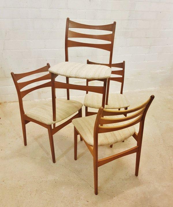 4er Set, Teak Stühle, Viborg Stolefabriken, Mid Century, Vintage, Danish Design, Teak, 1960, 1970, gepolstert, grau, braun, holz