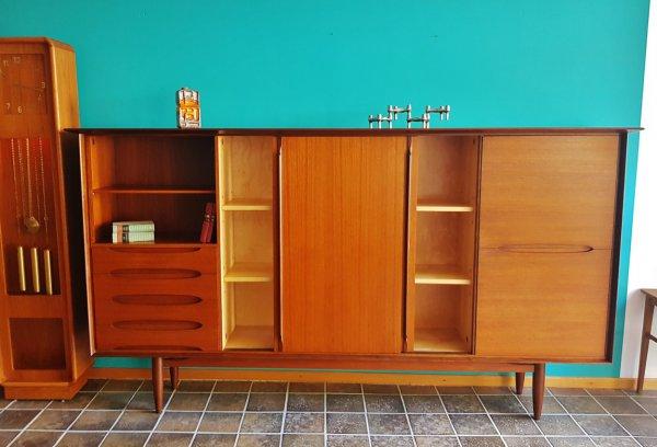 Hilker, Highboard, 1960, Teak, Schiebetüren, Danish Design, Mid Century, Schubladen