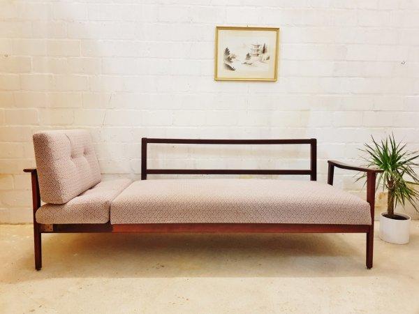 Daybed, Vintage, 1960, 1950, grau, Holz, ausziehbar, gepolstert, Schlafsofa, Mid Century
