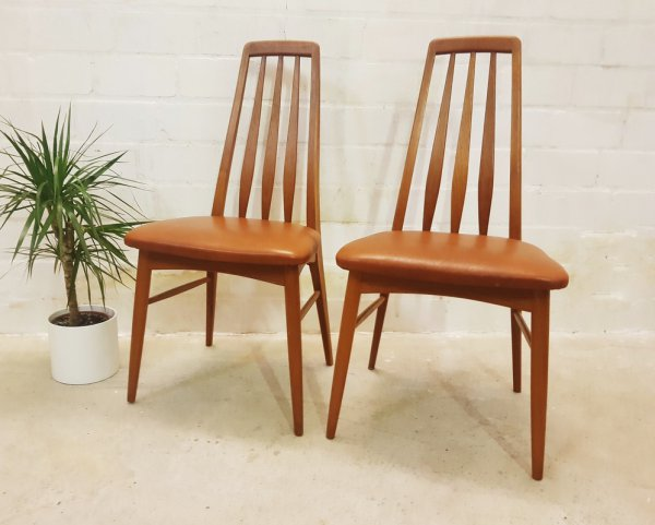 Dining Chairs, Teakholz, Stühle, Nils Koefoeds, Danish Design, Denmark, 1960, Mid Century, Vintage, Leder, braun, Echtleder