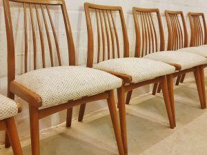 6er-Set, Stühle, Dining Chairs, Sprossen, ergonomisch, Kirschholz, 1960, Mid Century, Wollbezug, Danish Design, Designklassiker, Vintage