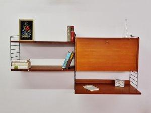 Nisse, Strining, String, Regal, Sekretär, Zeitungsablage, Teak, 1960er, Vintage, Mid Century