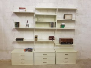 WHB Regal weiß, Moda, Vintage, Mid Century, String, Wandregal, Regalwand, Vitrine, weiß, Designklassiker, 1960, 1970