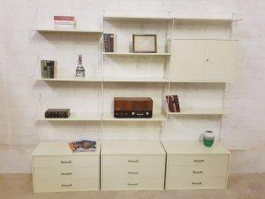 WHB Regal weiß, Moda, Vintage, Mid Century, String, Wandregal, Regalwand, Vitrine, weiß, Designklassiker, 1960, 1970, Schrank, Verschließbar
