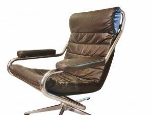 Ledersessel, Sessel, verchromt, lounge, vintage, 1970, mid century, braun, dunkelbraun,