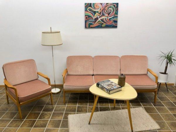 Mid Century, Garnitur, Sofa, Sessel, rosa, Kirschbaum, hell, Easy Chair, Daybed, 1960, 60er, Designklassiker, Vintage