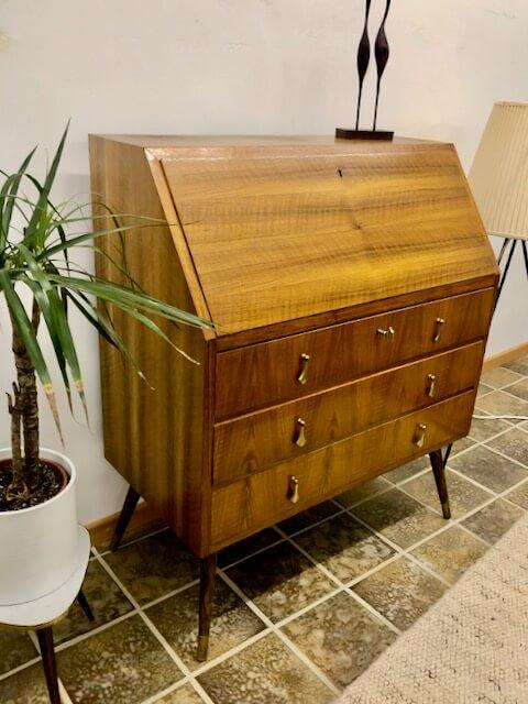 Mid Century, Sekretär, Nussbaum, 1960, 60er, Vintage, Arbeitsplatz, Desk, Schreibtisch