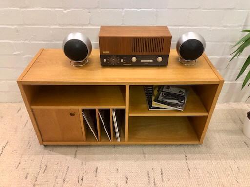 Vintage Phonowagen, Sideboard auf Rollen, 1970, Eiche, Eichenholz, Mid Century, Hifi, 1970