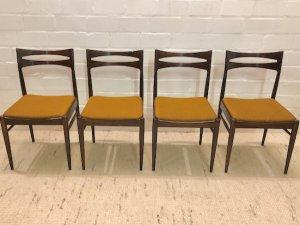 Dining Chairs, Esszimmer Stühle, Palisander, Vintage, Mid Century, 1970, 70er, Danish Design, gelb, orange, dunkel