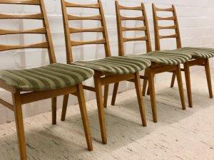 4er Set, Dining Chairs, Esszimmer Stühle, Mid Centur, Vintage, 1960, 60's, hell, Kirschholz, samt, gepolstert