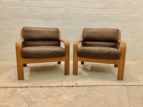 Teakholz Garnitur, Danish Design, L.Olson & Son, Vintage, Mid Century, 1970er, 70's, Sofa, Sessel, Easy Chair, Teak, Made in Denmark, Leder, braun