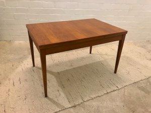 true Vintage Teak Esstisch, eckig, Danish Design, Mid Century, 1960', 60er, Furnier, ausziehbar, braun, eckige Beine, Maserung