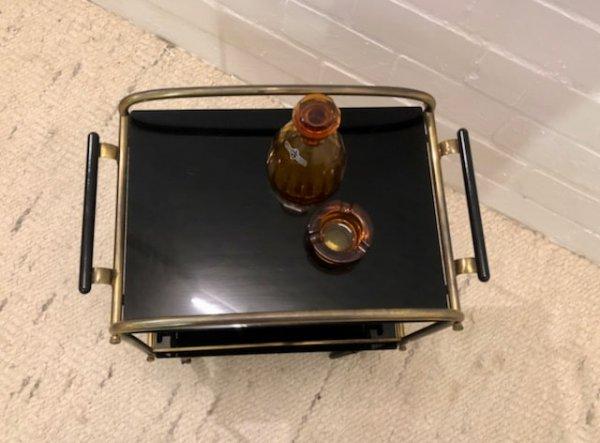 Mid Century Servierwagen, Beistellwagen, Vintage, 1950, 1950er, 50's, Messing, Glas, schwarz, auf Rollen, Mid Century-Möbel, Vintage-Möbel, Designklassiker