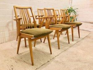 Mid Century Dining Chairs, 6er Set Stühle, Vintage, hell, Kirschholz, oliv-grün, Bezugsstoff, Federkern, Armlehnen, Sprossenstühle, Mid Century Möbel, Vintage Möbel, 1960, 1970, 1950
