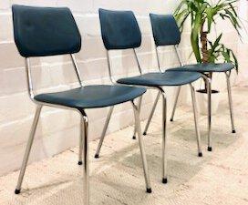 Mid Century Küchenstühle, 3er Set, Leder petrol blau, Vintage, 1970er, Chrom, blaues Leder, Designklassiker, Vintage Möbel, Mid Century Möbel