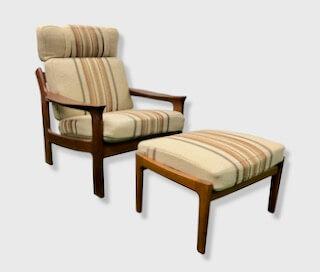 Teakholzgarnitur, Hochlehner m. Wollbezügen, 1960er, Jürgen Wegner, Relax Sessel, Kopfstützen, Mid Century Möbel, Vintage Möbel, Easy Chair
