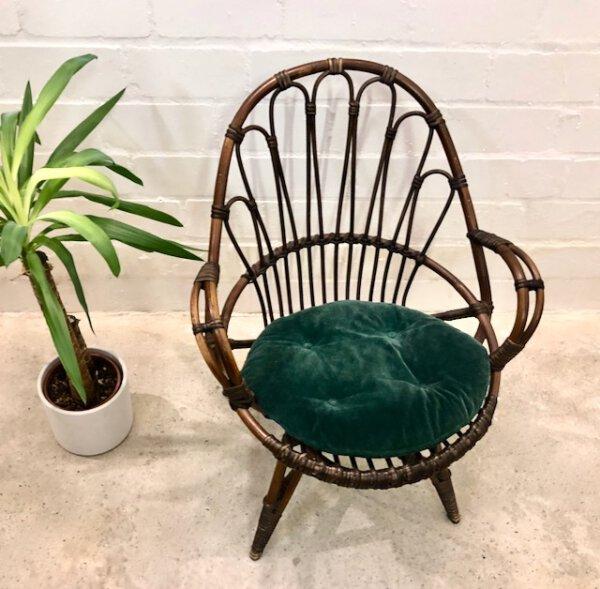 true Vintage Basket Chair, Korbstuhl 1960, braun, geflecht, Sessel, Mid Century, Rattan, Korbstuhl, 1970