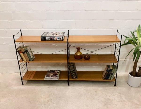 Vintage WHB-Standregal, String 1970's, Teak, Doppelregal, Mid Century, Danish Design, Leiterregal, 6 Böden