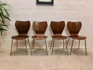 4er Set Teakholz Dining Chairs, Drabert Minden, 1960's, true Vintage, Mid Century, Ameise, Chromgestell, Metall, Fritz Hansen