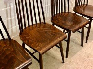 4er Set Mid Cenutry Dining Chairs, Sprossenstühle 1960's, Nussbaum, dunkel, Taivovaara, Maserung, Vintage, Esszimmer-Stühle, filigran, schmal 1970's, 1960's