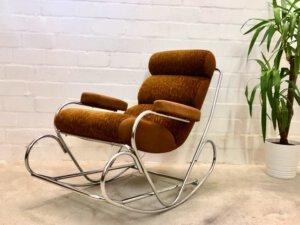 Vintage Schaukelstuhl, 1970's verchromt, braun, orange, gepolsterte Armlehnen, gepolstert, Mid Century, Vintage, Sessel, Clubsessel, Designklassiker