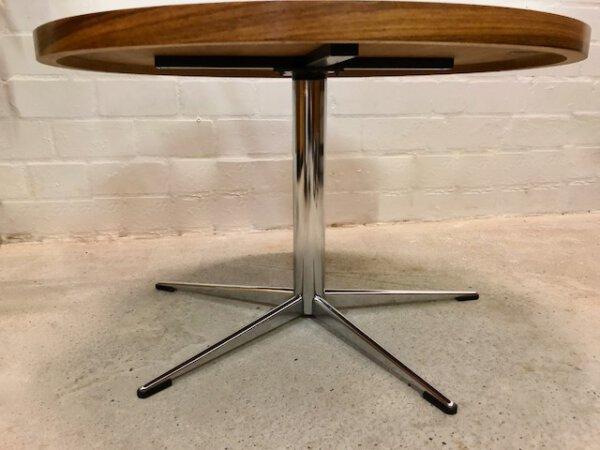 Palisander Coffeetable, rund, Theobald, verchromt, Metall, Untergestell, 1960's, Mid Century, Vintage, Couchtisch, 1970's, Industrial, Loft