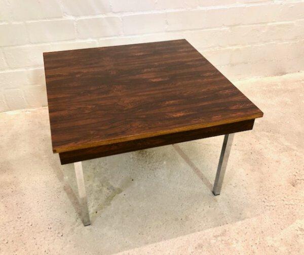 Palisander Coffee Table, Couchtisch 1970's, verchromte Metallfüße, Rosewood, Maserung, braun, Mid Century, Designklassiker, Vintage, 1960's, Beistelltisch