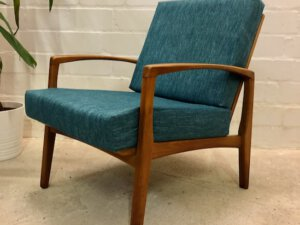 Vintage Easy Chair, 1960's, Petrol, Nussholz, Danish Design, Sprossen, Sessel, Mid Century Sessel, Lounge Chair, Club Chair, Teaksessel