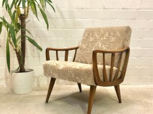 Mid Century Armchair, Casala 1950's, Easy Chair, Lounge Sessel, Sprossenarmlehnen, Rockabilly, Clubsessel, Vollholzgestell, Nussbaum, Designklassiker, Mid Century, Modern, Vintage
